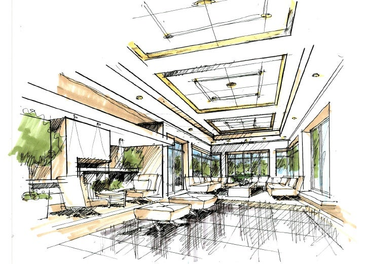 Paul sang interior sketch for Interior designs sketches