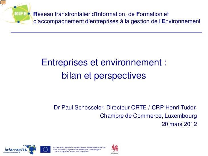 Entreprises et environnement : bilan et perspectives