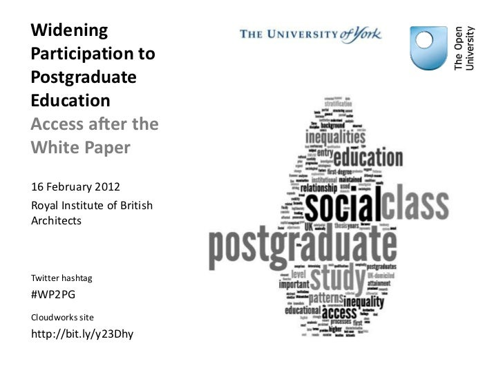 WideningParticipation toPostgraduateEducationAccess after theWhite Paper16 February 2012Royal Institute of BritishArchitec...