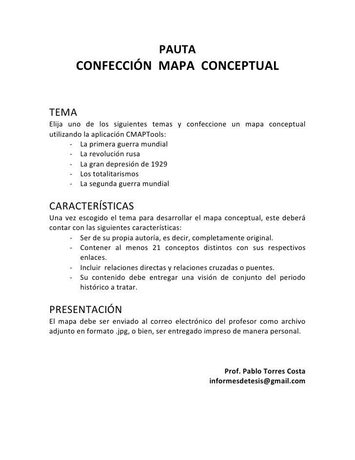PAUTA<br />CONFECCIÓN  MAPA  CONCEPTUAL<br />TEMA<br />Elija uno de los siguientes temas y confeccione un mapa conceptual ...