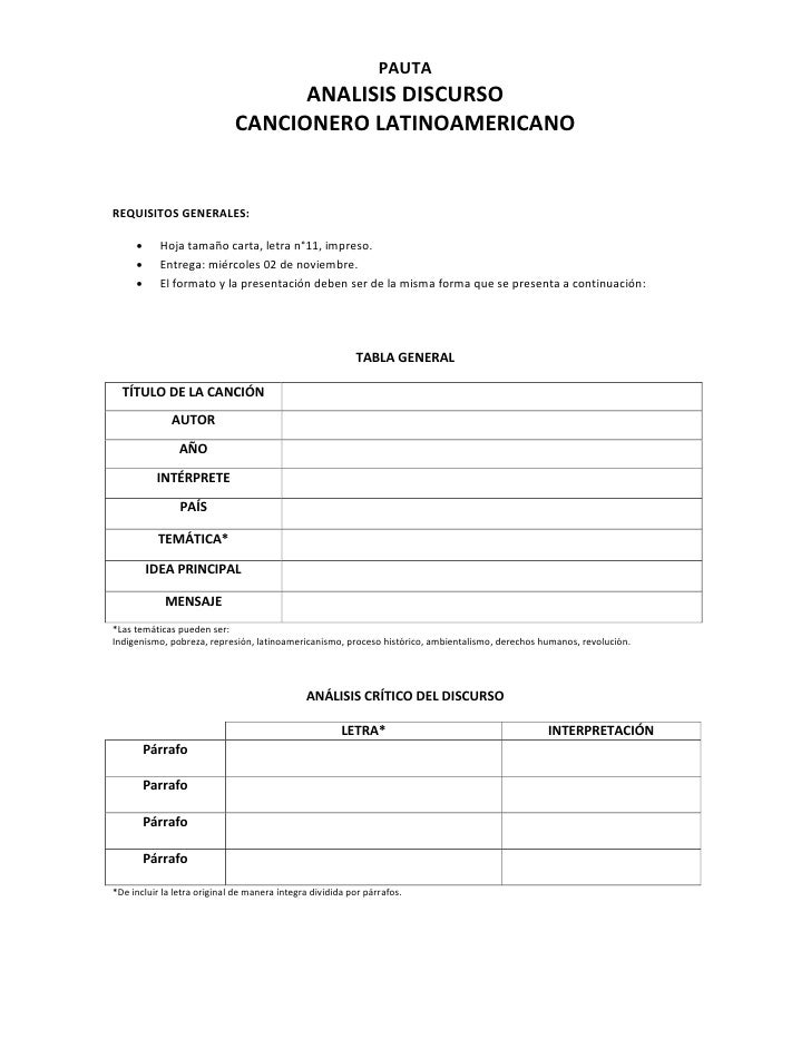 PAUTA                                   ANALISIS DISCURSO                             CANCIONERO LATINOAMERICANOREQUISITOS...