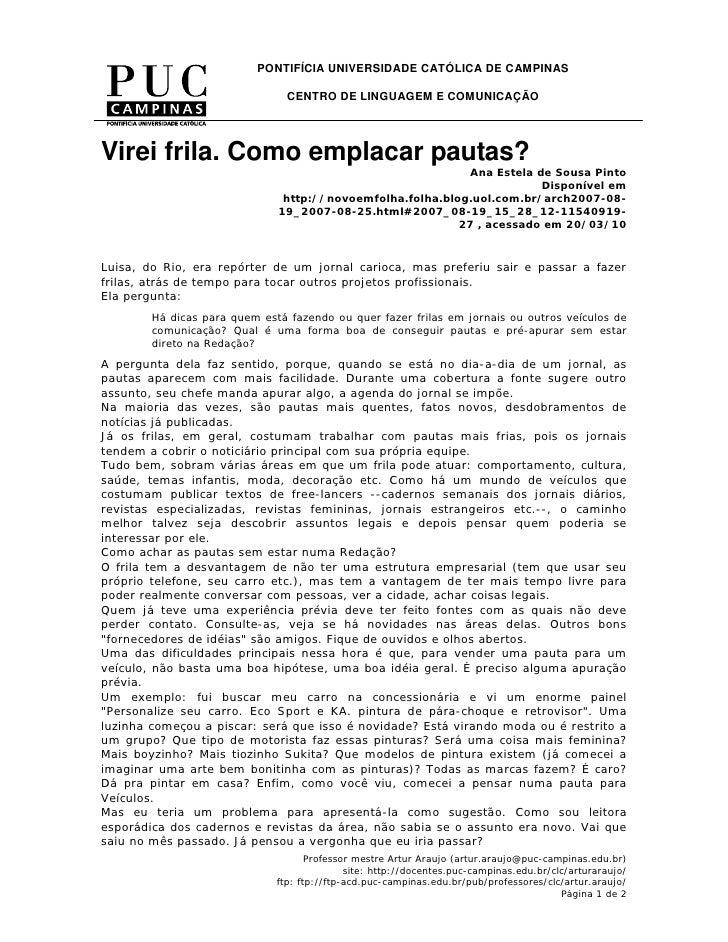 PONTIFÍCIA UNIVERSIDADE CATÓLICA DE CAMPINAS                                  CENTRO DE LINGUAGEM E COMUNICAÇÃO     Virei ...