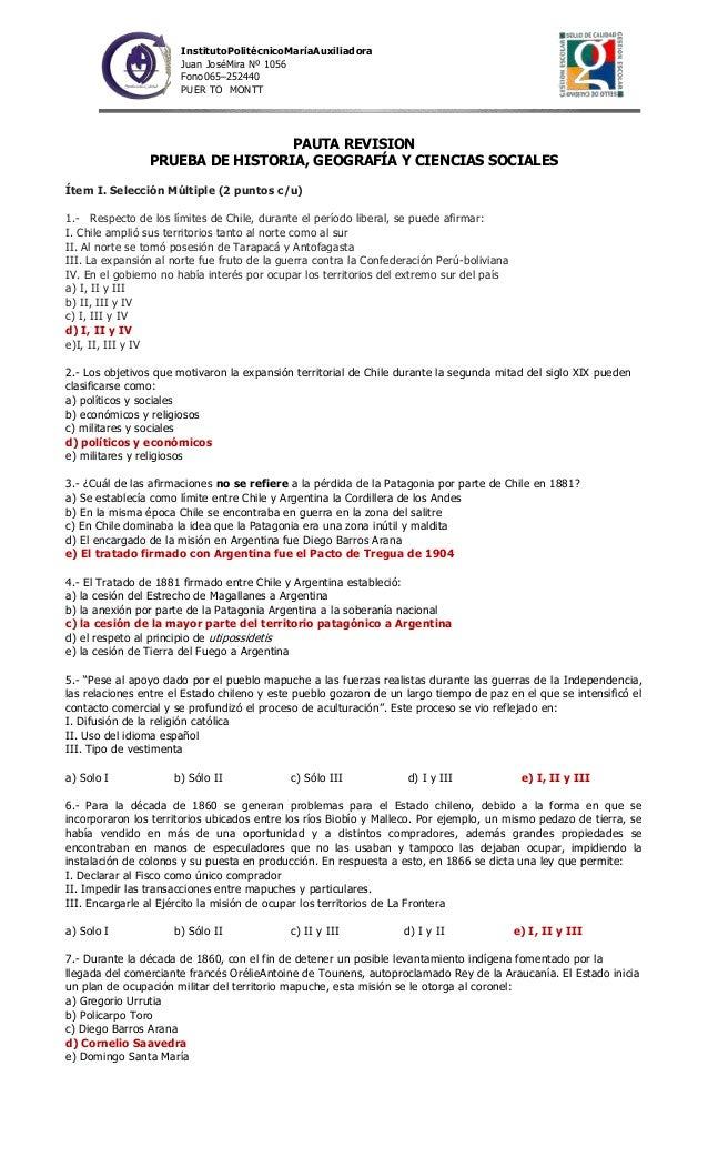InstitutoPolitécnicoMaríaAuxiliadora Juan JoséMira Nº 1056 Fono065–252440 PUER TO MONTT  PAUTA REVISION PRUEBA DE HISTORIA...