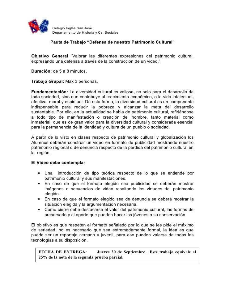 """Colegio Inglés San José            Departamento de Historia y Cs. Sociales           Pauta de Trabajo """"Defensa de nuestro ..."""