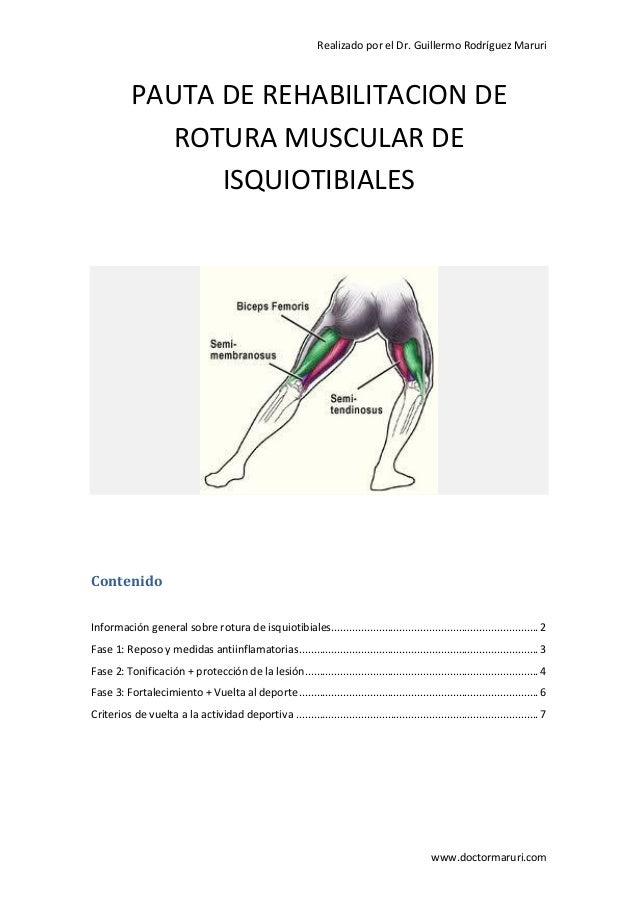 Realizado por el Dr. Guillermo Rodríguez Maruri  PAUTA DE REHABILITACION DE ROTURA MUSCULAR DE ISQUIOTIBIALES  Contenido I...
