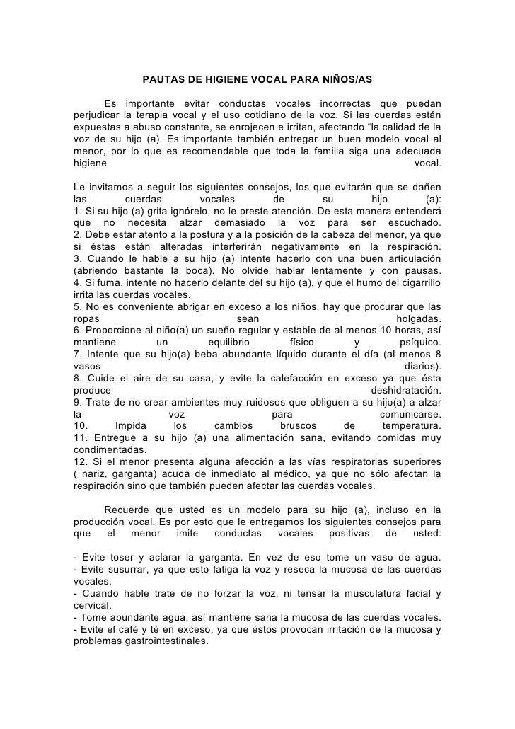 Vocales en Espanol Para Ninos Higiene Vocal Para ni os