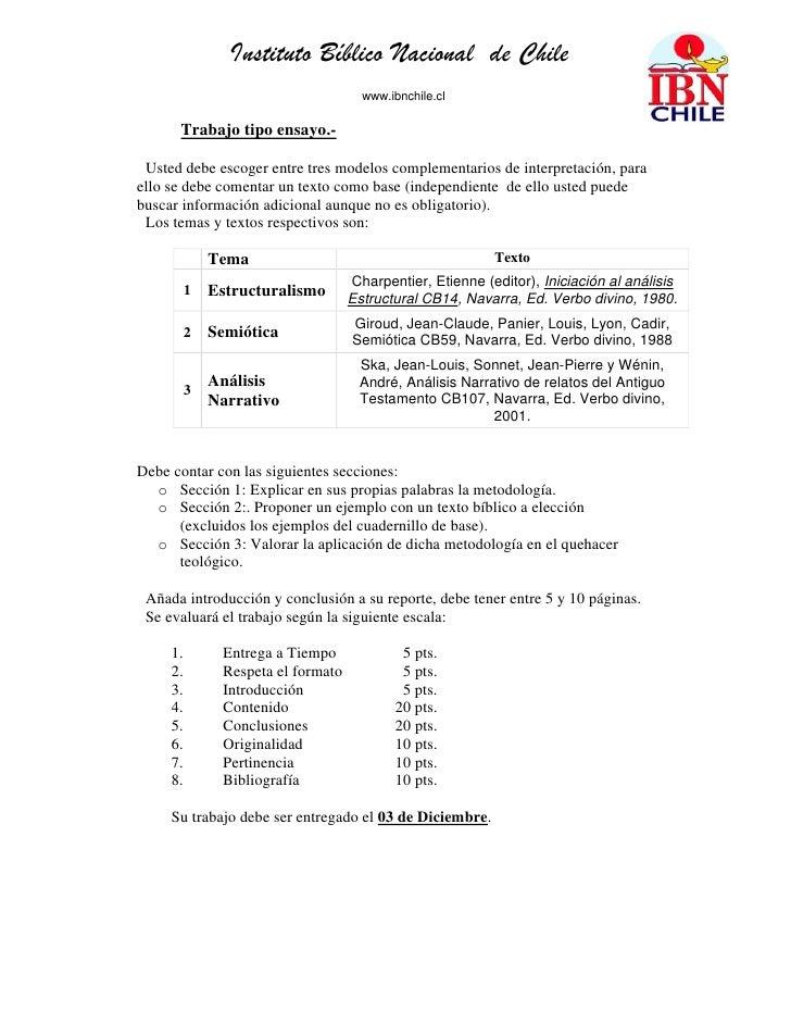 Instituto Bíblico Nacional de Chile                                      www.ibnchile.cl      Trabajo tipo ensayo.- Usted ...