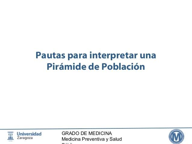 Pautas para interpretar una  Pirámide de Población  GRADO DE MEDICINA  Medicina Preventiva y Salud  Pública