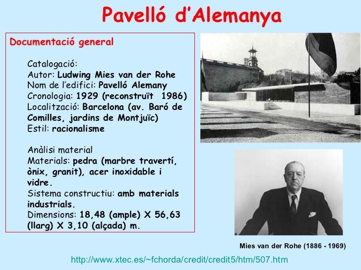 Pavelló d'AlemanyaDocumentació general   Catalogació:   Autor: Ludwing Mies van der Rohe   Nom de l'edifici: Pavelló Alema...