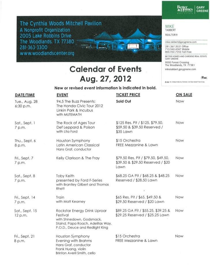 Pavilion schedule