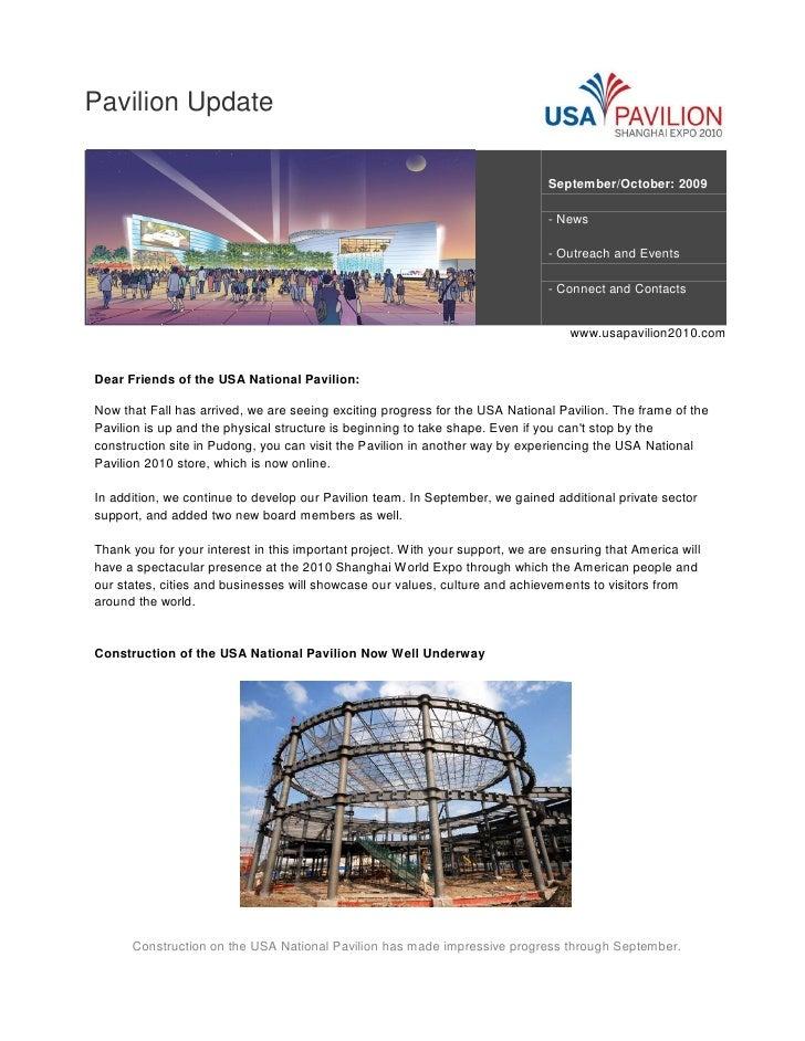 Pavilion Update                                                                                  September/October: 2009  ...
