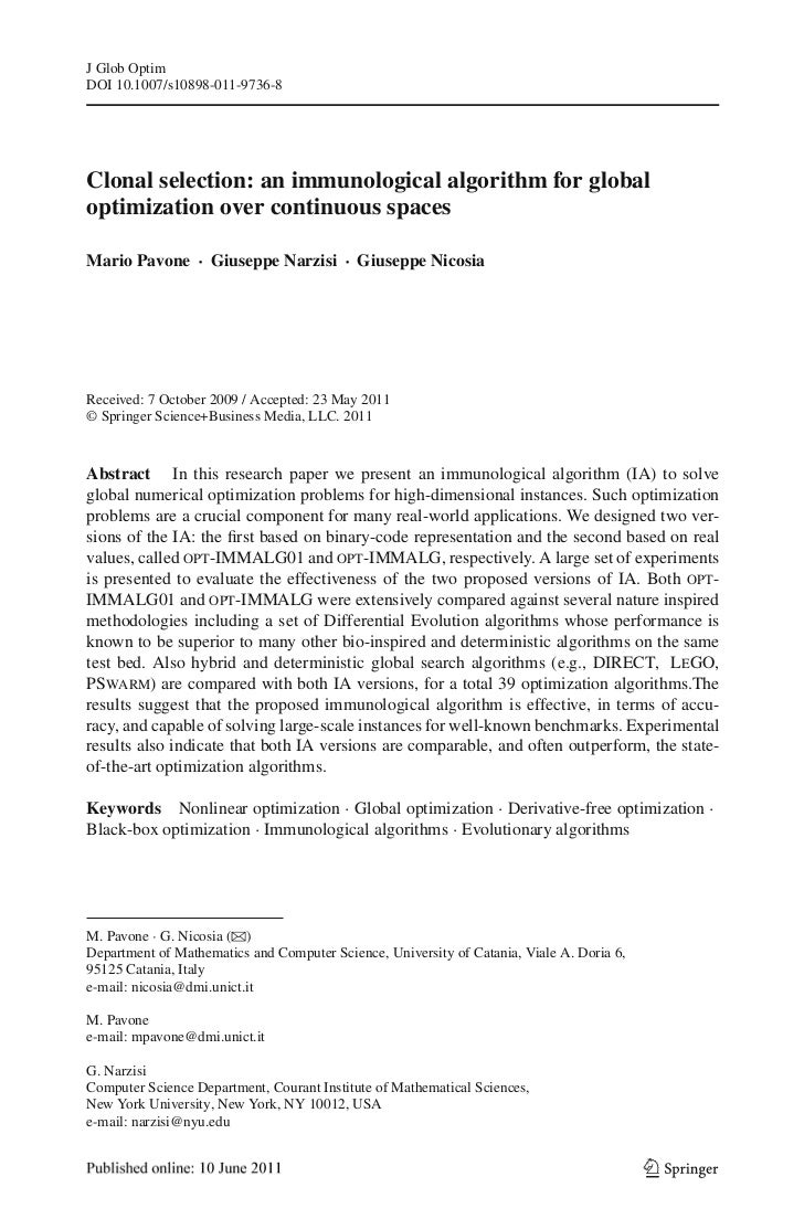 J Glob OptimDOI 10.1007/s10898-011-9736-8Clonal selection: an immunological algorithm for globaloptimization over continuo...