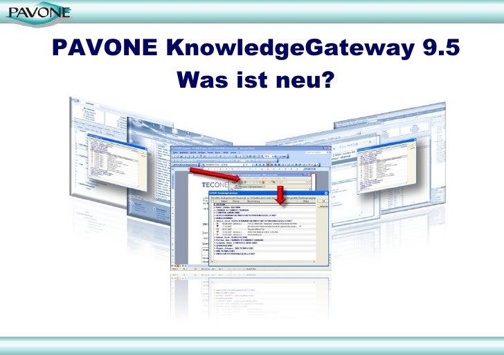 PAVONE KnowledgeGateway 9.5 Was ist neu?