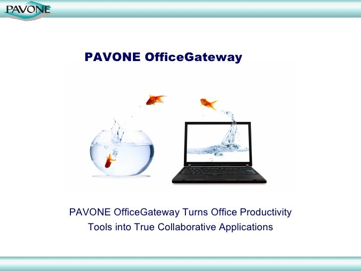 PAVONE OfficeGateway     PAVONE OfficeGateway Turns Office Productivity    Tools into True Collaborative Applications