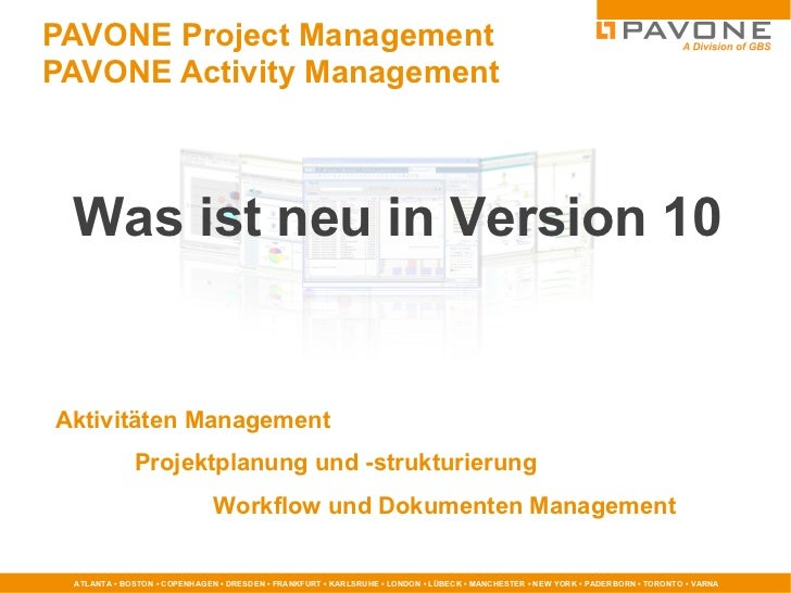 PAVONE Project Management   PAVONE Activity Management Aktivitäten Management Projektplanung und -strukturierung Workflow ...