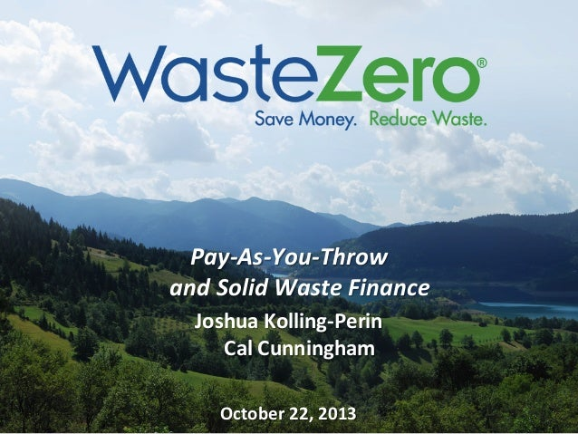 Pay-As-You-Throw and Solid Waste Finance