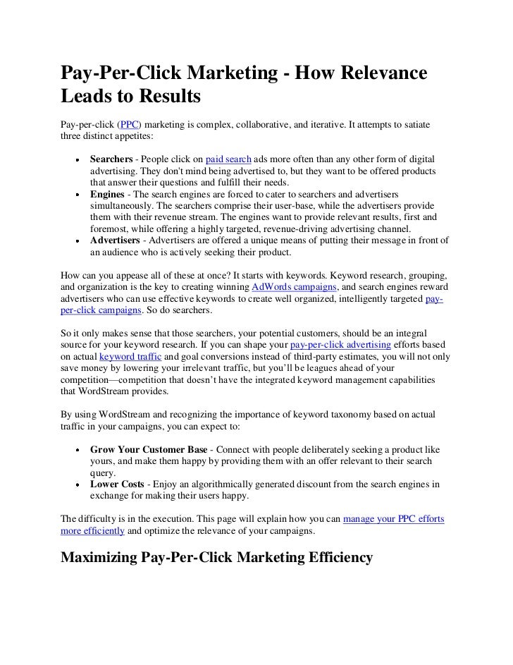 Pay-Per-Click Marketing - How RelevanceLeads to ResultsPay-per-click (PPC) marketing is complex, collaborative, and iterat...