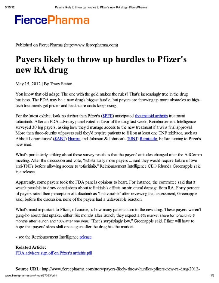Payers likely to throw up hurdles to Pfizer\'s new RA drug