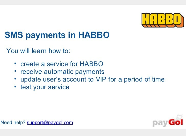 Paygol sms payments in Habbo