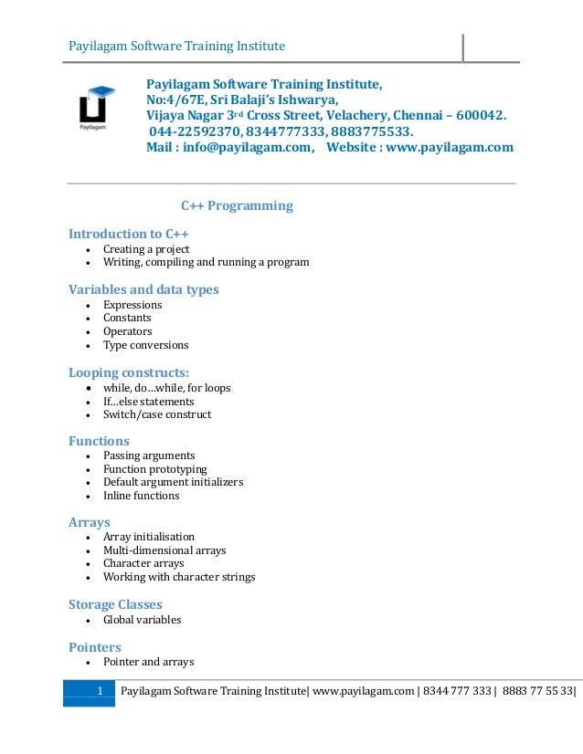 Payilagam c++ training syllabus