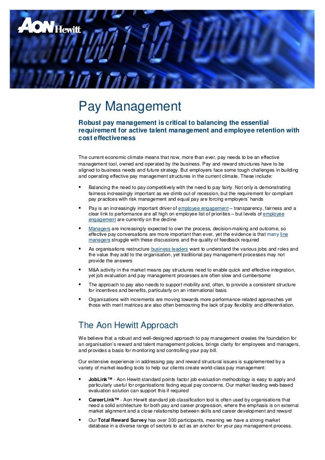 Pay ManagementRobust pay management is critical to balancing the essentialrequirement for active talent management and emp...