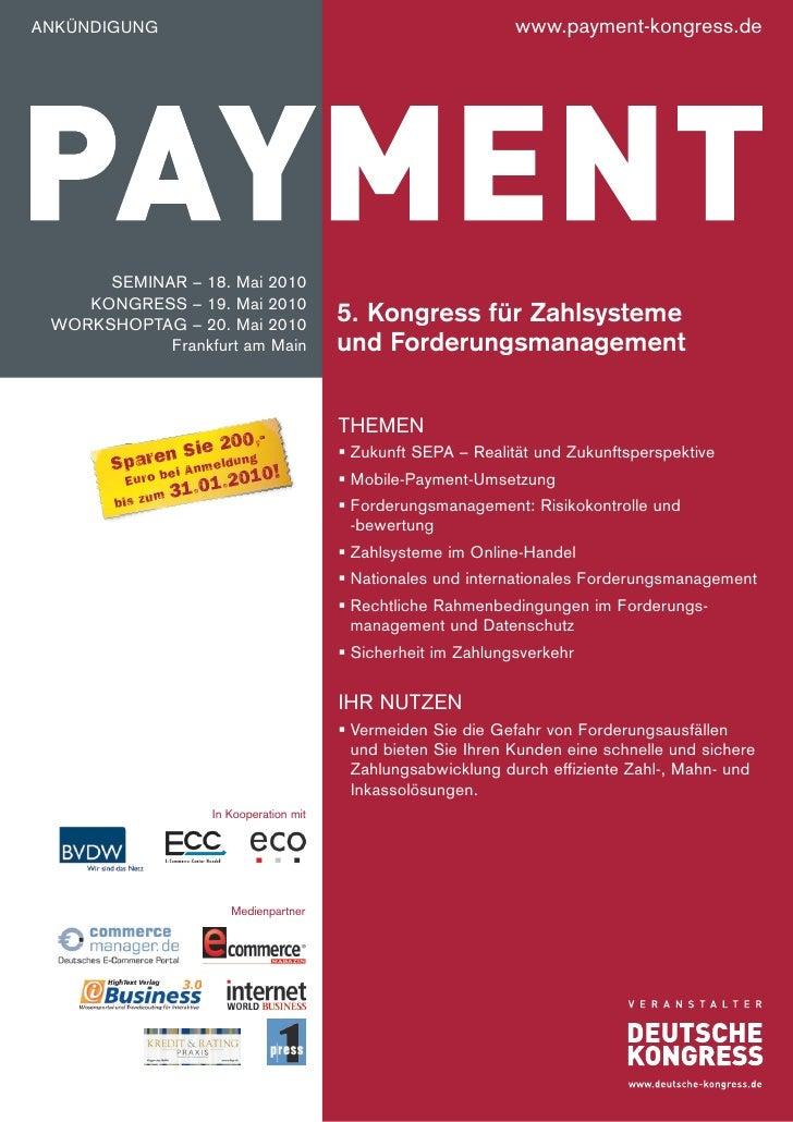 AnKünDIGUnG                                                   www.payment-kongress.de           SemInAR – 18. mai 2010    ...