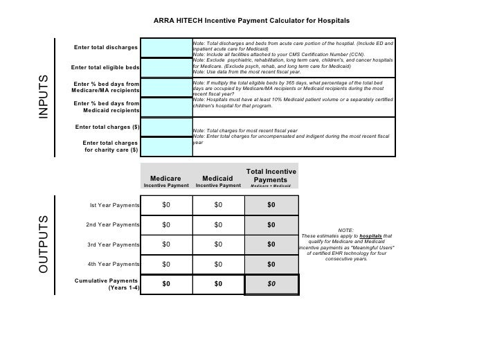 ARRA HITECH Incentive Payment Calculator for Hospitals                                                             Note: T...