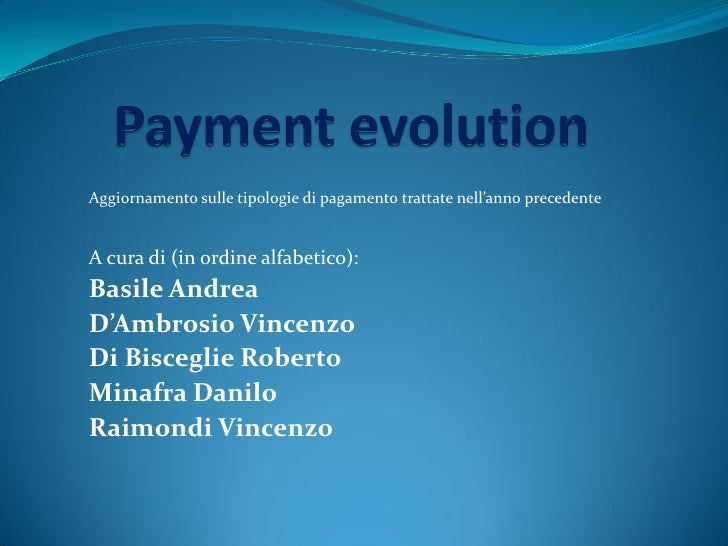 Payment evolution 2010 2011