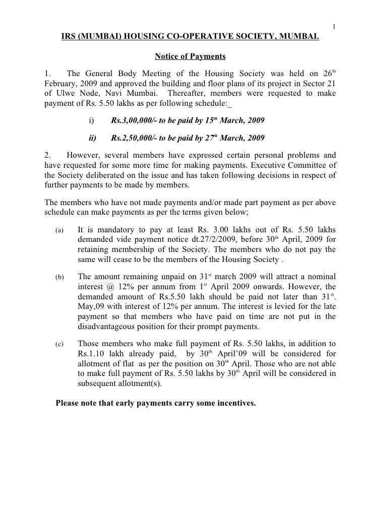 Payment Notice 01-04-09