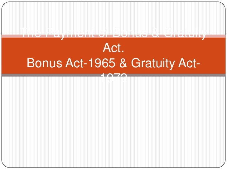 Payment of bonus n gratutity
