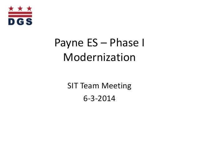 Payne ES – Phase I Modernization SIT Team Meeting 6-3-2014