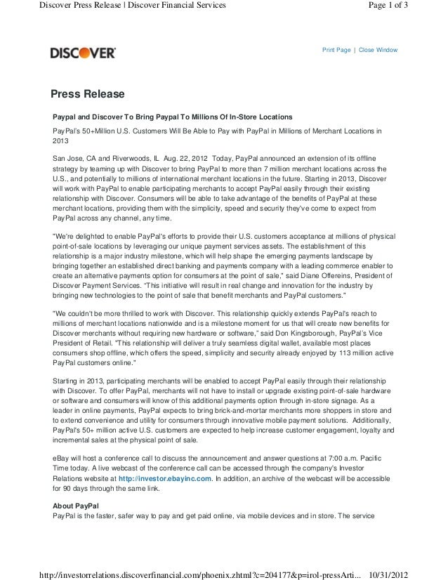 Discover Press Release | Discover Financial Services                                                        Page 1 of 3   ...