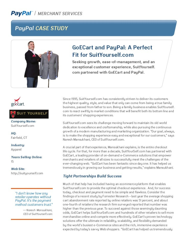 MERCHANT SERVICES  PayPal CASE STUDY                                        GoECart and PayPal: A Perfect                 ...