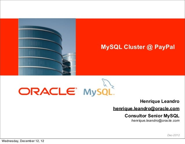 <Insert Picture Here>   MySQL Cluster @ PayPal                                                      Henrique Leandro      ...