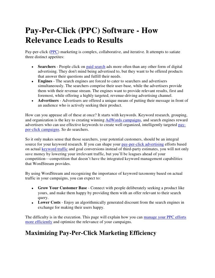 Pay-Per-Click (PPC) Software - How Relevance Leads to Results<br />Pay-per-click (PPC) marketing is complex, collaborative...
