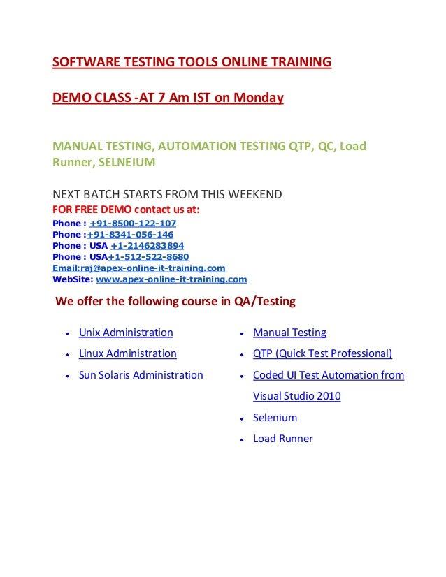 QA QTP Selenium online training from India Hyderabad