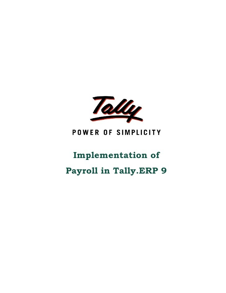 Implementation of Payroll in Tally.ERP 9