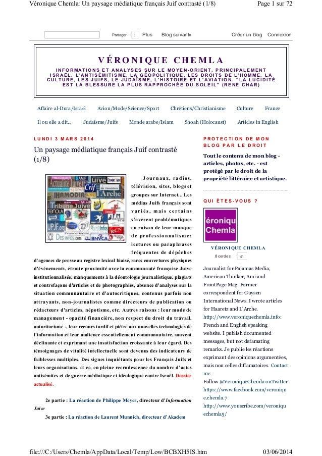 Paysage médiatique français juif 3 juin 2014