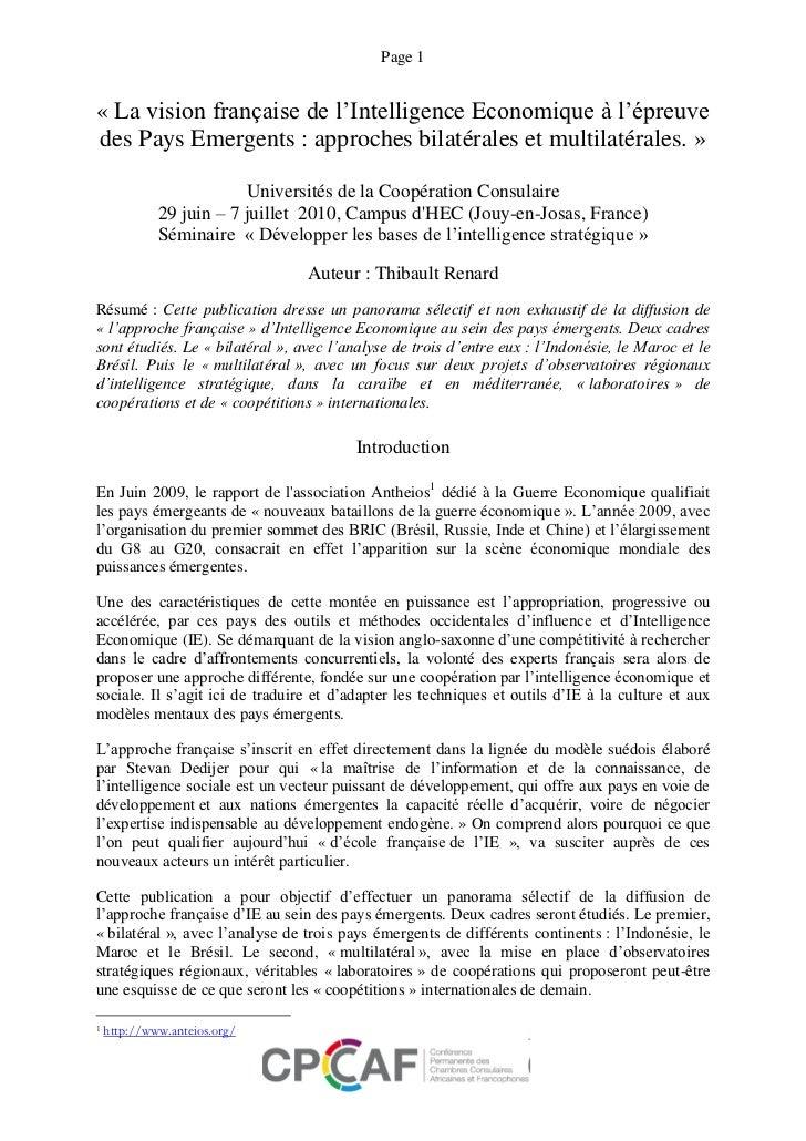 Page 1« La vision française de l'Intelligence Economique à l'épreuvedes Pays Emergents : approches bilatérales et multilat...
