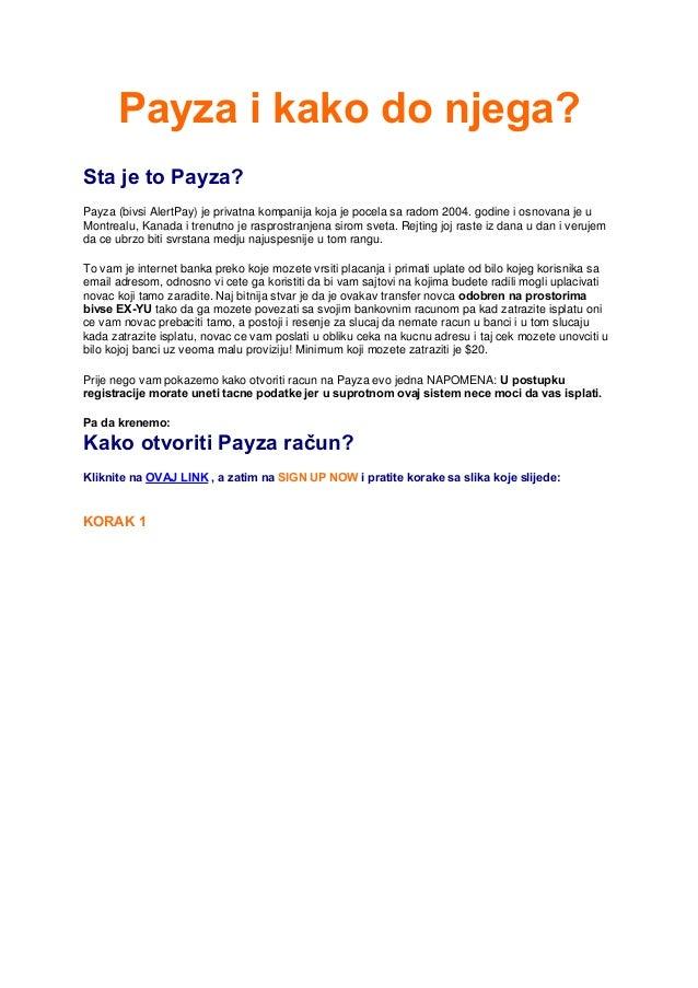 Payza ( AlertPay) i kako do njega - Ako trazite zaposlenje putem interneta payza vam je neophodan