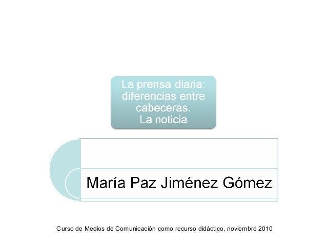 Curso de Medios de Comunicación como recurso didáctico, noviembre 2010