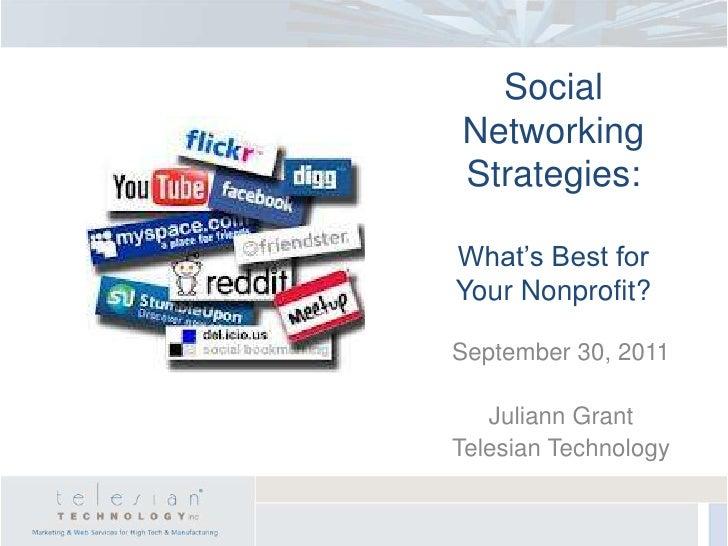 SocialNetworkingStrategies:What's Best forYour Nonprofit?September 30, 2011   Juliann GrantTelesian Technology