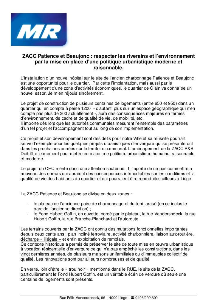 ZACC Patience et Beaujonc : respecter les riverains et l'environnement    par la mise en place d'une politique urbanistiqu...