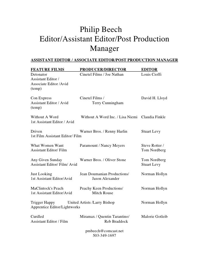 Film school resume