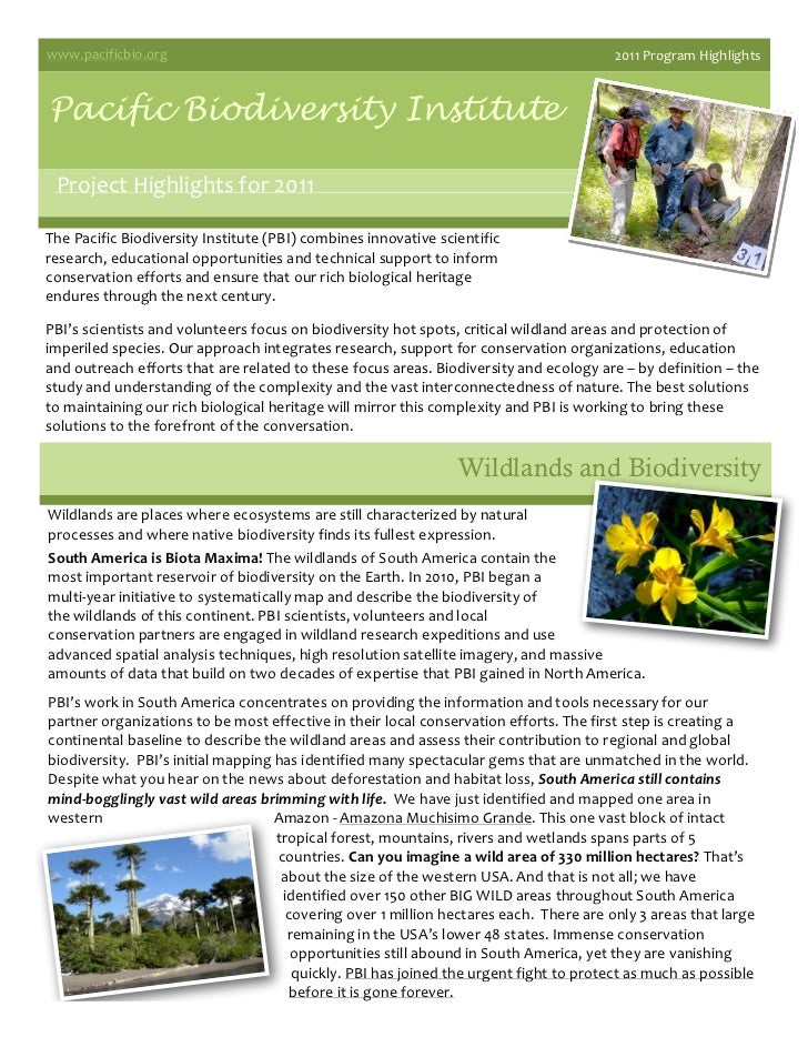 Pacific Biodiversity Institute 2011 highlights