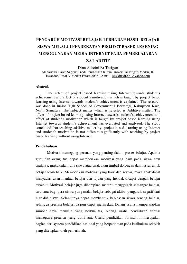 PENGARUH MOTIVASI BELAJAR TERHADAP HASIL BELAJAR SISWA MELALUI PENDEKATAN PROJECT BASED LEARNING MENGGUNAKAN MEDIA INTERNE...
