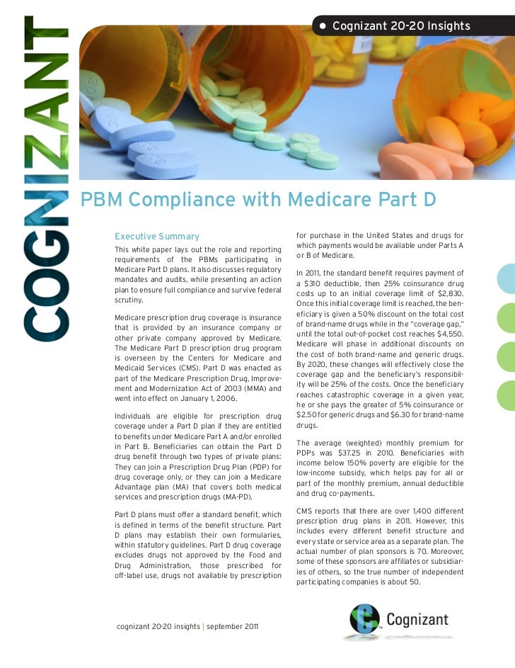 • Cognizant 20-20 InsightsPBM Compliance with Medicare Part D   Executive Summary                                     for ...