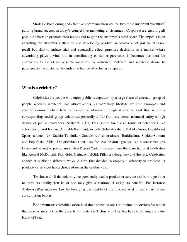 Articles or research papers on celebrity marketing?