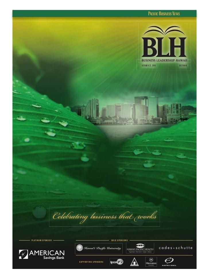 OCTOBER 22, 2010   SECTION B                               Celebrating business that worksP L AT I N U M S P O N S O R    ...