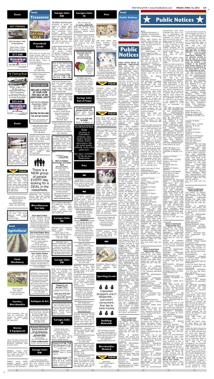 Public notices for April 13, 2012